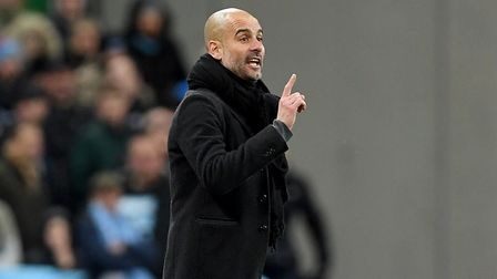 Manchester City manager Pep Guardiola gestures on the touchline during the Carabao Cup Final at Wemb