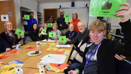 Staff, supporters and service users group from learning disability charity Elfrida. Pictured front,