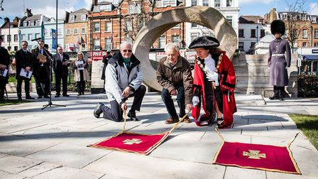 A memorial stone for John Sayer is laid at Islington Memorial Green. Picture: Em Fitzgerald