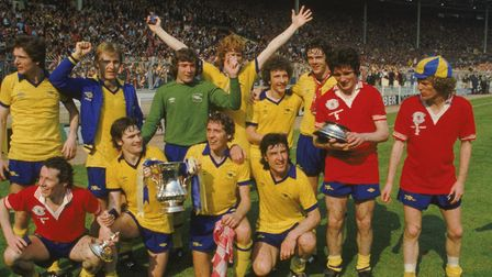 Liam Brady and his Arsenal team-mates celebrate after winning the 1979 FA Cup (back row, L-R) Steve