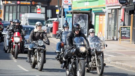 Bikers from Ace Cafe in Stonebridge following the funeral cortege for actor Colin Campbell (Picture: