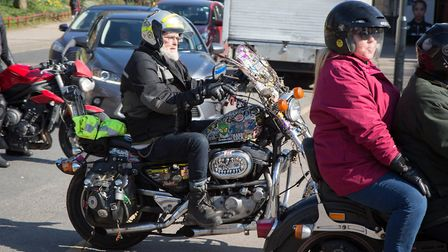 Ace Cafe bikers following the funeral cortege for actor Colin Campbell (Picture: Jonathan Goldberg)