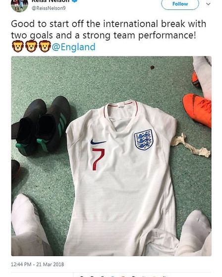Arsenal youngster Reiss Nelson shares his excitement on his Instagram after scoring two goals for th