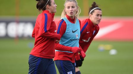 Arsenal's Jodie Taylor (left) and Leah Williamson during an England training session (pic Joe Gidden