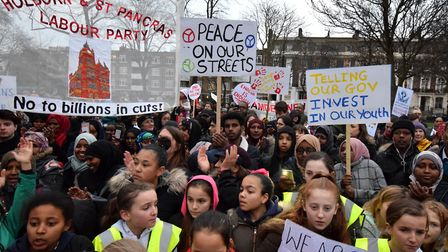 Camden Against Violence march. Marchers listen to the speakers in Harrington Square (Picture: Polly
