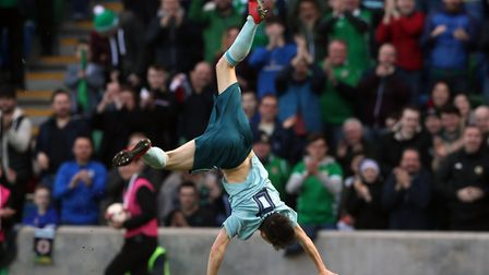 Queens Park Rangers forward Paul Smyth celebrates scoring the winner for Northern Ireland (pic: Bria
