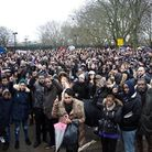 More than 1,000 people gathered outside Quamari's school in the wake of his death last year - the sa