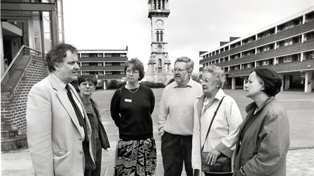Islington Council leader Alan Clinton speaks to concerned Market Estate tenants in 1995. Picture: Is