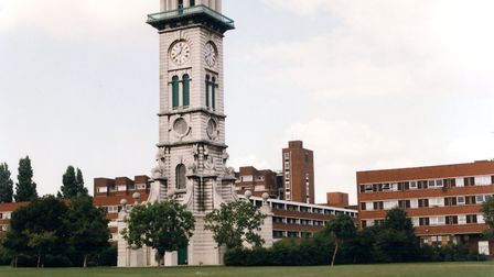 The Market Estate, and the iconic clock tower, pictured in 1999. Picture: Islington Local History Ce