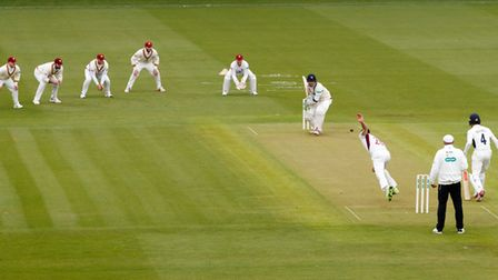 Northamptonshire's Ben Sanderson bowls to Middlesex's Sam Robson during the Specsavers County Champi