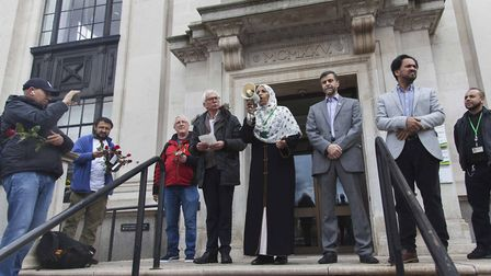 Cllr Rakhia Ismail speaks at the 'respect a Muslim' rally on the steps of Islington Town Hall yester