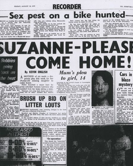 Romford Recorder coverage of the search for missing teenager Suzanne Lawrence, last seen in 1979. Pi