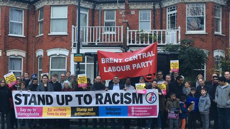 Vigil in Dollis Hill were Nazi graffii was daubed in many places, organised by Brent Stands Up To Ra