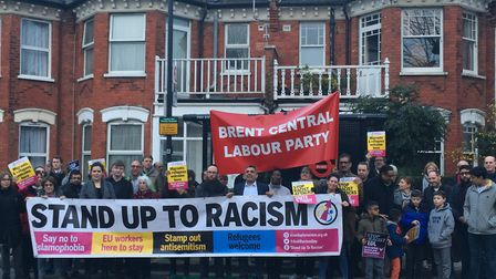 Vigil in Dollis Hill, where Nazi graffiti was daubed, organised by Brent Stand Up To Racism. Picture