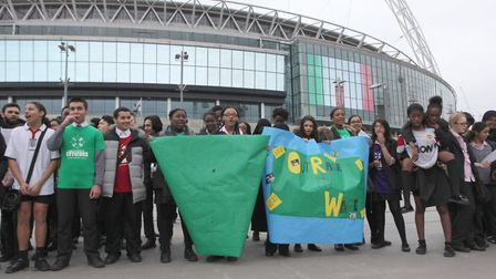 Students from Ark Academy call on the Football Association to become a Living Wage employer (Picture