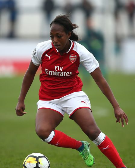 Arsenal Women's Danielle Carter during the SSE Women's FA Cup Semi Final match at the Marine Travel