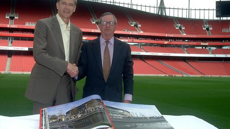 Arsene Wenger and chairman of Arsenal Peter Hill-Wood during a photo call at the Emirates Stadium