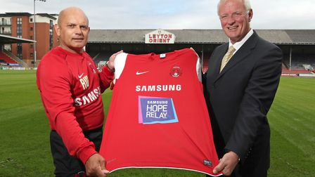 Ex-England footballer and Samsung Ambassador Ray Wilkins (left) and then Leyton Orient chairman Barr