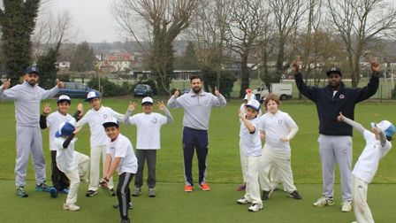 Crouch End CC coach Poojan Vyas (left) along with head of colts cricket Pratik Patel (centre) and co