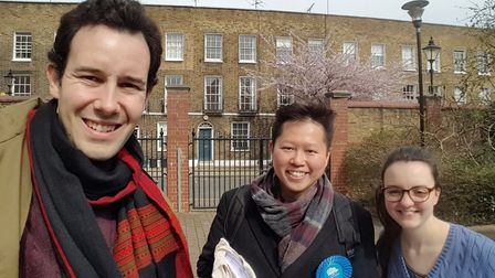 Edward Waldegrave, left, and fellow Islington Conservatives on the doorstep ahead of the May 3 local