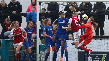 Arsenal Women's Louise Quinn scores her side's second goal against Everton (pic Dave Thompson/PA)