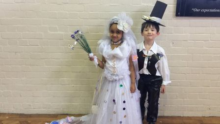 A bride and groom St Mary's Catholic Primary School's first eco fashion show