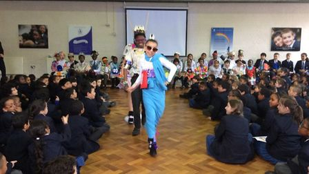Pupils at St Mary's Catholic Primary School in Kilburn hold their first eco fashion show