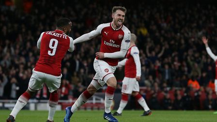 Aaron Ramsey of Arsenal celebrates his second in the UEFA Europa League game between Arsenal v CSKA