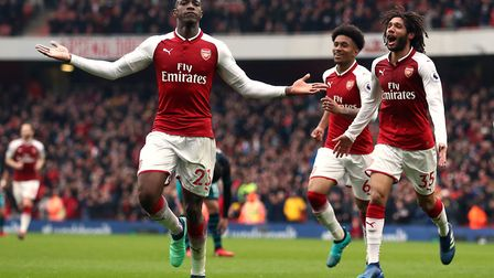 Arsenal's Danny Welbeck (left) celebrates scoring his side's second goal (pic Tim Goode/PA)