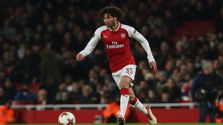 Mohamed Elneny of Arsenal in the UEFA Europa League game between Arsenal v A.C. Milan at the Emirate