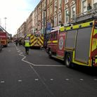 Fire engines at the scene in Kilburn High Road. Picture: London Fire Brigade/Twitter (@LondonFire)
