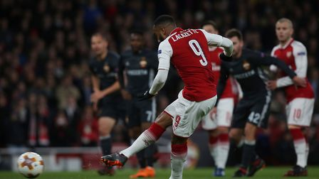 GOAL!!! Alexandre Lacazette of Arsenal puts them ahead from the spot in the UEFA Europa League game