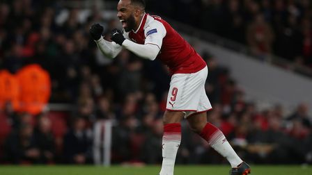 Alexandre Lacazette of Arsenal celebrates his second goal in the UEFA Europa League game between Ars