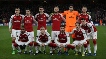 Arsenal line up before the UEFA Europa League game between Arsenal v CSKA Moscow at the Emirates Sta