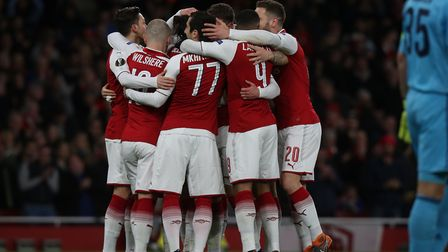GOAL!!! Arsenal celebrate Aaron Ramsey's first goal in the UEFA Europa League game between Arsenal v