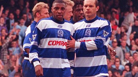 QPR's Andy Impey (left) is consoled by manager and teammate Ray Wilkins after being sent off against