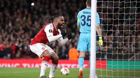 Arsenal's Alexandre Lacazette celebrates scoring his side's second goal against CSKA Moscow (pic Ada