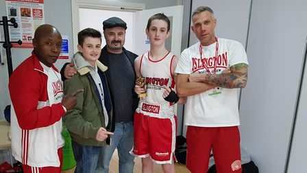 Islington's John McDonagh with coaches Scott Marshall and Chad Ouzman, his brother and dad (pic Regg