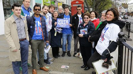 Stronger In campaigning ahead of May 2016 referendum. Picture: STEVE POSTON