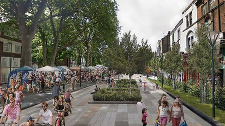 An artist's impression of what a pedestrianised Upper Street may look like. Picture: Zaha Hadid Arch