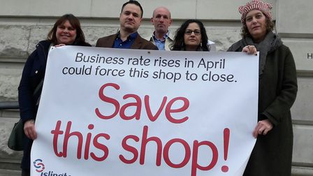 Cllr Asima Shaikh, second right, pictured on a business rates protest last year, wants to make Islin