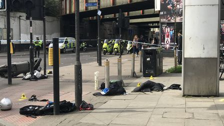 The scene of the moped crash outside Finsbury Park station Seven Sisters Road on Tuesday. Picture: D
