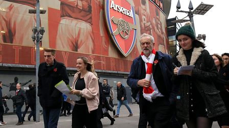 Jeremy Corbyn outside Arsenal's Emirates Stadium in 2015, during a protest in favour of the Living W