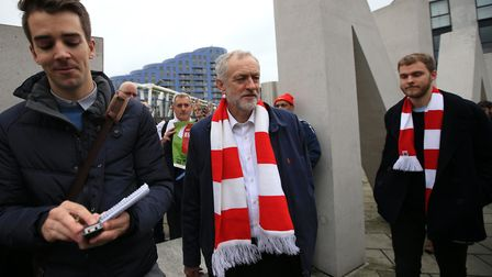 Jeremy Corbyn at the Emirates Stadium. Picture: John Walton/PA Archive