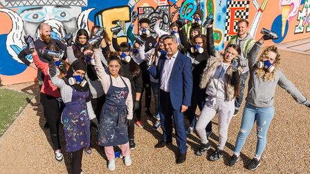 Cllr Muhammed Butt with Ark Academy pupils at the Wembley Mural launch .( Photo: Chris Winter / We
