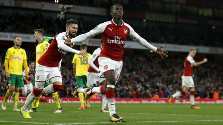 Eddie Nketiah pictured scoring on his debut against Norwich City. PA