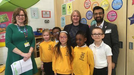 Joanne McCartney (back, centre) visits Byron Court Primary School to celebrate its healthy living wo