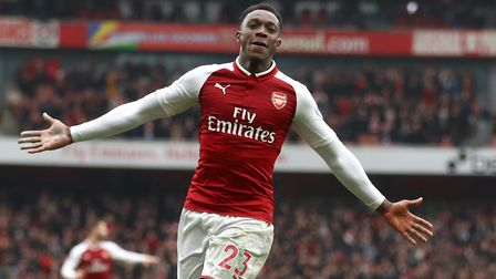 Arsenal's Danny Welbeck celebrates scoring his side's second goal (pic Tim Goode/PA)