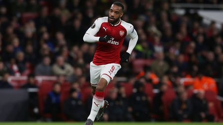 Alexandre Lacazette of Arsenal in the UEFA Europa League game between Arsenal v CSKA Moscow at the E
