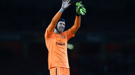 Petr Cech of Arsenal thanks the fans after the UEFA Europa League game between Arsenal v CSKA Moscow